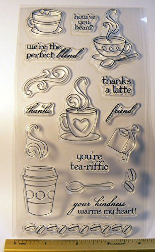 Coffee time themed clear polymer sheet of stamps