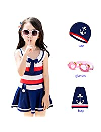 4Young 4-Piece Swimsuit Navy Striped Style Comfortable Fabric Swimwear for Girls