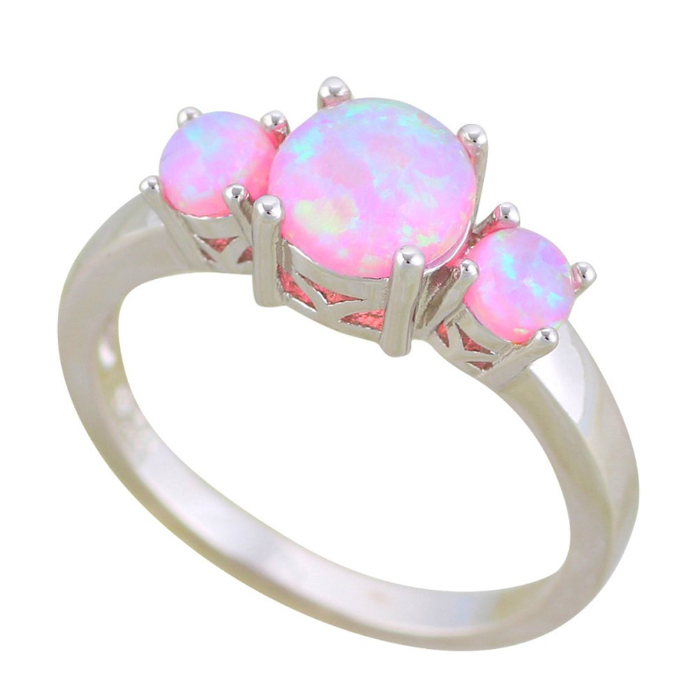 F/&F jewel Fashion Pink Fire Opal Rings For Women Wedding Ring Engagement Bridal Rings
