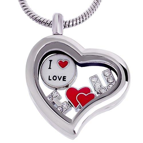 RUBYCA Themed Heart Locket Necklace Crystal Birthstone Living Memory Floating Charm Silver Tone DIY ()