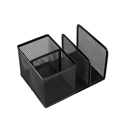 ZLL Book Stand + Pen Holder Metal Grid Creative Desktop Storage Stationery Home Office Desktop Organizer,4Compartment with,School and Home Use, ()