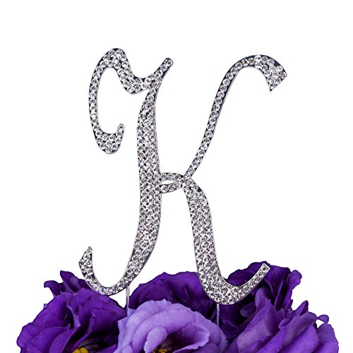 LOVENJOY Gift Box Pack Personalized Letter K Crystal Rhinestone Wedding Engagement Birthday Bridal Shower Metal Cake Decoration Topper Silver (3.7-inch) Bridal Shower Cake Decorating
