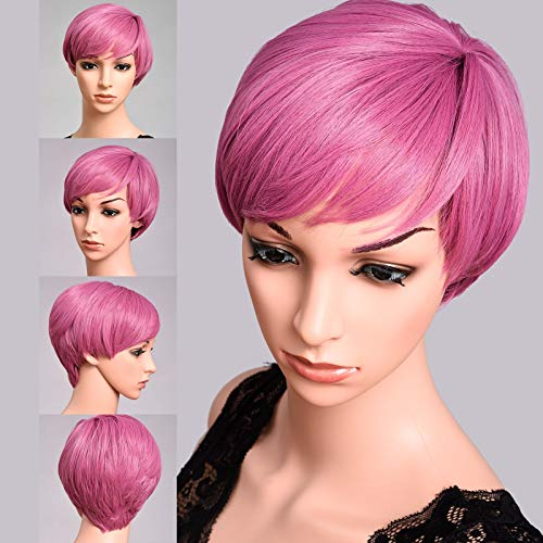 Short Pixie Cut Hair Pink Wigs For Women 100% Kanekalon Fiber Cosplay Daily Party Natural Synthetic Wig 6 inches (HOT PINK) -