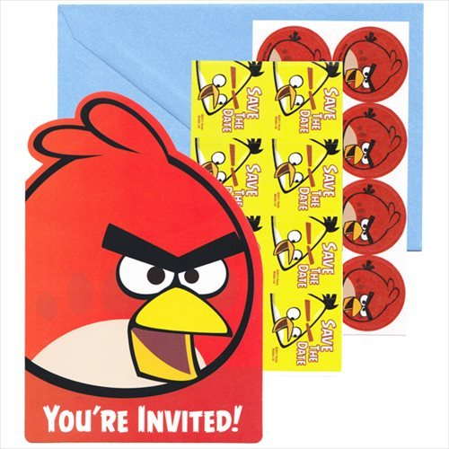 Angry Birds Invitations w/ Envelopes (8ct) (Birds Party Angry Invitations)