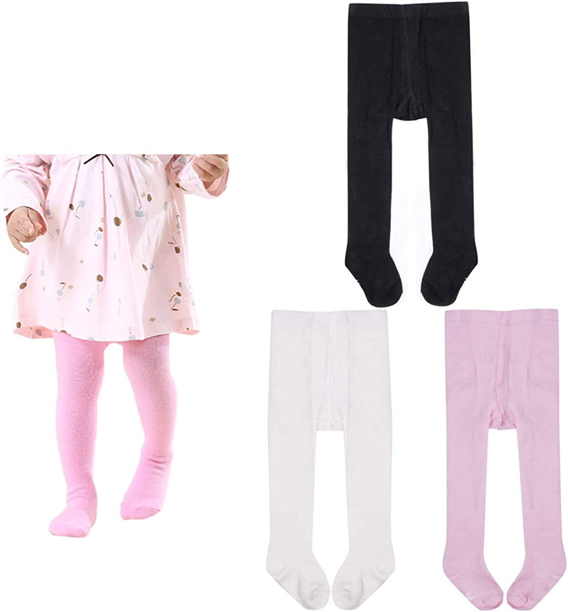 Baby Little Girls Tights Kids Bow Cotton Leggings Stocking Pantyhose 3 Pair Pack