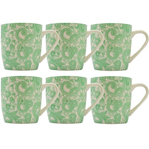 Green Paisley Design Tea / Coffee Mug - 280ml (10oz) - Box of 6 -  Nicola Spring, NS-PH674 x 6