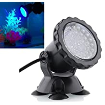 Deckey Waterproof 36 LED Submersible Spotlight Landscape Lamp for Aquarium Fish Tank, Garden Fountain, Pond Pool (Blue)
