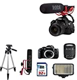 Canon Eos Rebel T6i DSLR EOS Video Creator kit + Rode VIDEOMIC GO + 18-55mm + 32g Commander High Speed Memory Card + Pro tripod + Led Bright on camera light + Top Value Bundle