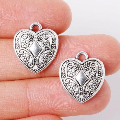 20 Pcs Antique Silver Heart Four Leaf Clover Lucky Charm Pendant 15x17mm (NS763) Diamond Scroll Heart Pendant