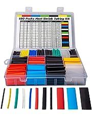 Huryfox 580STK Krimpkous, draadassortiment, kabel, elektrische isolatieslang, set met koffer, 6 kleuren, 11 maten