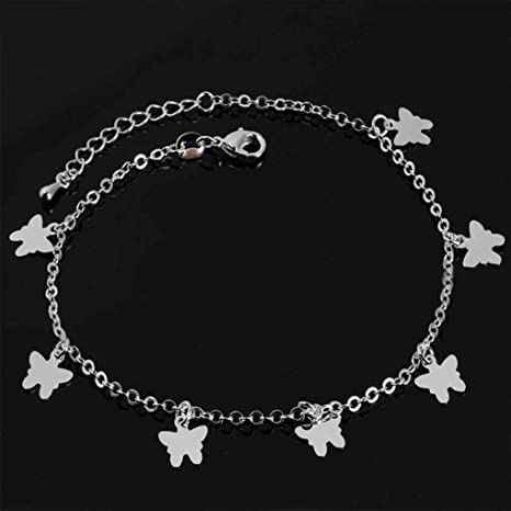 LORSOUL Argent Coeur Bracelets de Cheville Papillon cha/îne Cheville de Pied Bracelet pour Les Femmes