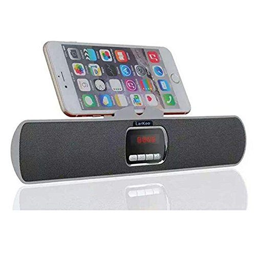 LarKoo Ultra Portable Wireles Rechargeable Handsfree Bracket Bluetooth Speaker Stereo System Phone Holder Mount Stand for Android Smartphones and Tablets iPad iPhone 5S 6 6S 7 8 Plus X - Home Stereo Galaxy S5 Speakers