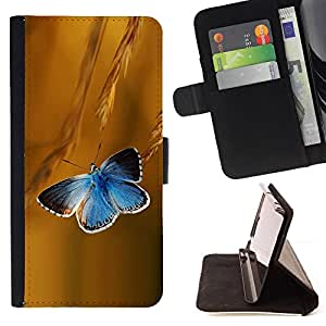 Jordan Colourful Shop - butterfly rye blue flight spring summer For HTC One M9 - < Leather Case Absorci????n cubierta de la caja de alto impacto > -