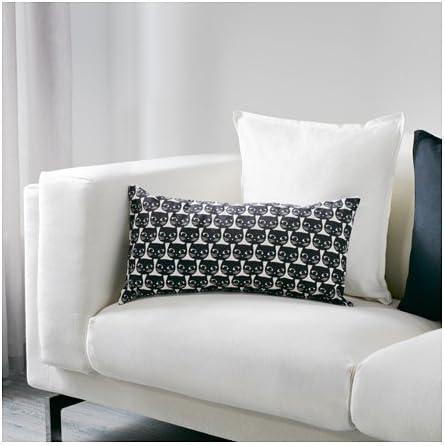IKEA schwarz weiß Katze Kissen Kissen Baumwolle 30,5 x 61 cm