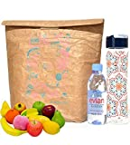 """Lunch Bag,14""""x14.5"""" Made of Reusable Brown Paper Lunch Bags Insulated Lunch Bag Lunch Box Strong Water Resistant Tear Proof with Velcro Closure"""