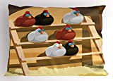 Lunarable Chicken Pillow Sham, Group of Hen Sleeping on a Perch in a Farm Colorful Doodle Style Animal Design, Decorative Standard Queen Size Printed Pillowcase, 30 X 20 inches, Multicolor