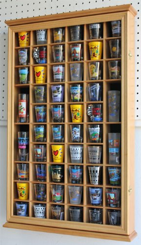 56 Shot Glass Shooter Display Case Holder Cabinet Wall Rack W/Glass Door  (SC56