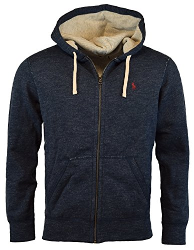 Polo Ralph Lauren Men's Cotton Blend Full Zip Fleece Hoodie, Blue Eclipse Heather, - Lauren Polo Tracksuit Ralph Men