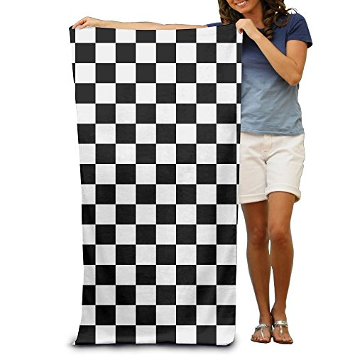 Happybeth Black and White Checkered Stripes Microfiber Travel Beach Towel Lightweight Absorbent Quick-Drying Oversized Towel Blanket Suitable for Sports Bath Pool Ultra-fine Fiber Towel 32x52(Inches) (Kitchen Checkered)