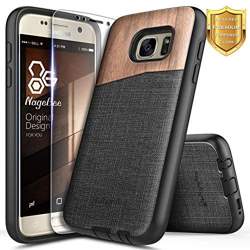 Galaxy S6 Case with Tempered Glass Screen Protector, NageBee Premium [Natural Wood] Canvas Fabrics Heavy Duty Shockproof Hybrid Defender Rugged Durable Case for Samsung Galaxy S6 -Wood (Cheap Wood Durable)