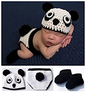 Toptim Baby Photography Prop Hat Pants and Shoes Panda Design 0-12M White Black