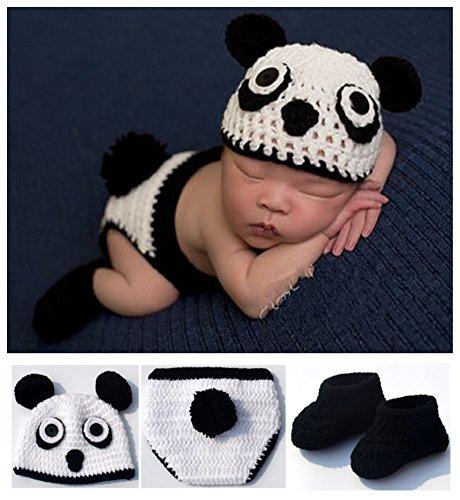 Toptim Newborn Infant Photography Prop Hat Pants and Shoes set Panda 0-6M (Newborn Christmas Costume)