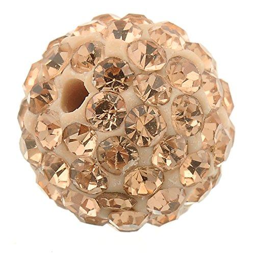 (RUBYCA Pave Czech Crystal Disco Ball Clay Beads fit Shamballa Jewelry (20pcs, 10mm, Champagne))