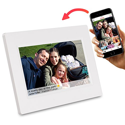 Feelcare 7 Inch Smart Wifi Digital Picture Frame with Touch Screen, IPS LCD Panel, Built in 8GB Memory, Wall-Mountable, Portrait&Landscape, Instantly Sharing Moments(White)