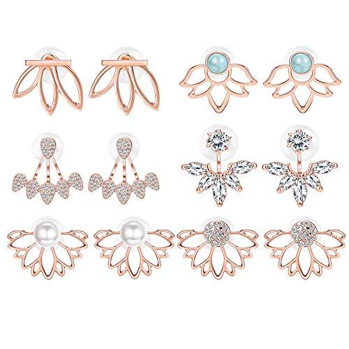 (Adramata 6 Pairs Lotus Flower Earrings for Women Girls Simple Chic Fashion Stud Earrings,RG)