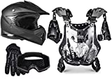 Typhoon Youth Off Road Motocross Helmet Gloves Goggles Chest Protector Combo ATV Dirt