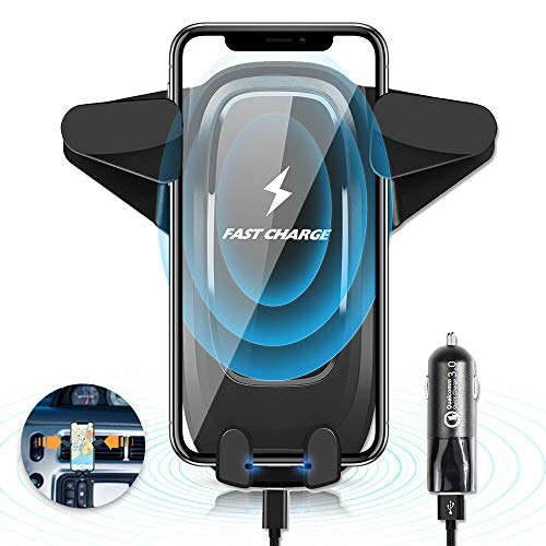 (Wireless Car Charger,10W Qi Wireless Charger Car Mount,Car Phone Mount With Wireless Charging For IPhoneX Xs Max XR 8 8plus, Samsung GalaxyS9 S8 S7 S7Edge S6Edge Plus Note5 All Qi Enabled Device)