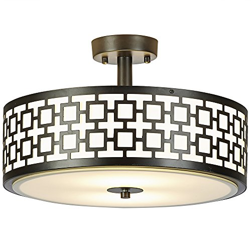 - SOTTAE Luxurious 2 Lights Glass Diffuser Black Finish Bedroom Living Room Ceiling Light,Ceiling Lamp Fixture(Diameter:15.74