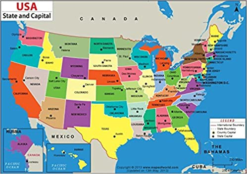 Buy USA States & Capitals Map - Vinyl Print (48