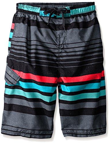 Kanu Surf Big Boys' Echo Stripe Swim Trunk, Black, Small (8)