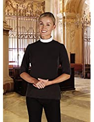 WOMENS Black SHORT SLEEVE JERSEY KNIT CLERGY SHIRT - NECKBAND COLLAR