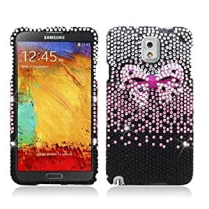 Black Pink Bow Tie Bling Cover Hard Case for Samsung Galaxy Note 3