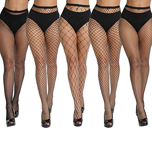 akiido High Waist Tights Fishnet Stockings Thigh High Stockings Pantyhose -