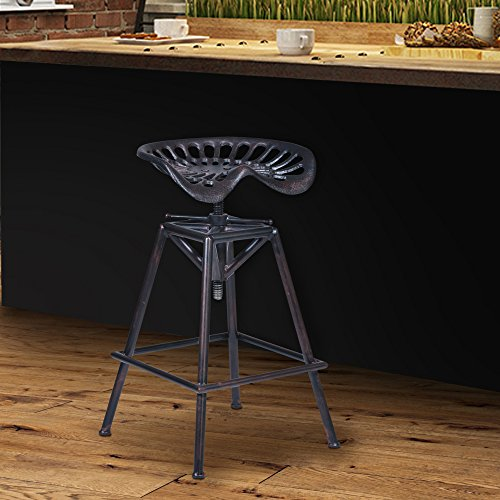 Armen Living Osbourne Adjustable Barstool in Industrial Copper and Industrial Copper Finish