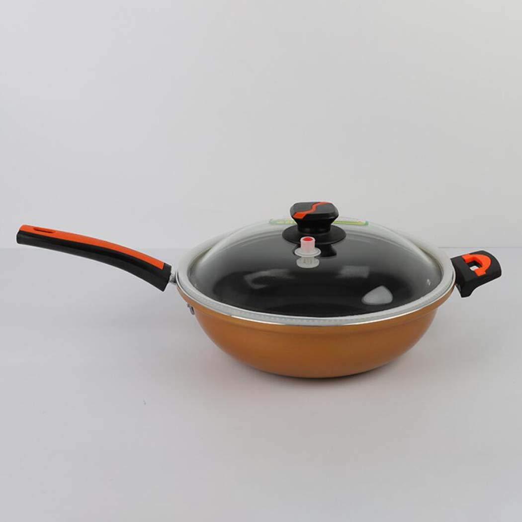 CY&Y oro Pot Vuoto Salute Cura-Free Antiaderente Pan Flat-Fondo Fornello A Gas A Induzione Fornello Wok Antiaderente Pan