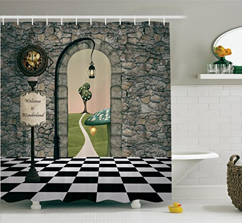 Alice in Wonderland Decorations by Ambesonne, Welcome Wonderland Black and White Floor Tree Landscape Mushroom Lantern, Polyester Fabric Bathroom Shower Curtain, 84 Inches Extra Long, Multi