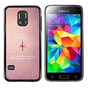 LECELL--Funda protectora / Cubierta / Piel For Samsung Galaxy S5 Mini, SM-G800, NOT S5 REGULAR! -- Airplane Travel Sky Vignette Stars Quote --