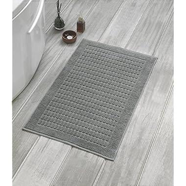 Berrnour Home Solomon Collection Turkish Cotton 2-Piece Squares Design 20-Inch-by-31-Inch Bath Mat, Grey