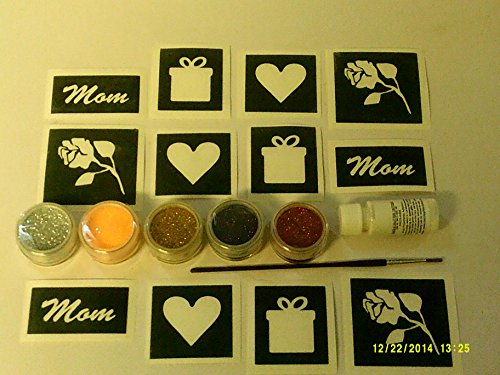 Mothers Day Glitter tattoo set incl 30 x stencils + 5 glitter colors + glue Mom word gift rose heart