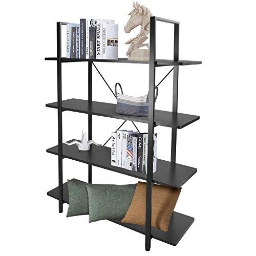 Estantería industrial de 4 estantes, estilo retro, de madera y metal, para colección, estante abierto Etagere, 55,1 cm de...