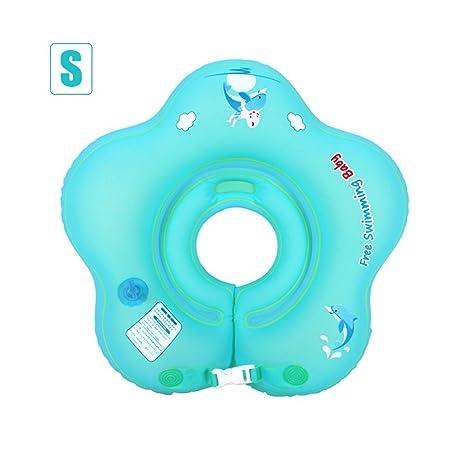 Yves25Tate Anillo de natación bebé con flotador doble globo Cuello grueso ajustable bebé 0-18