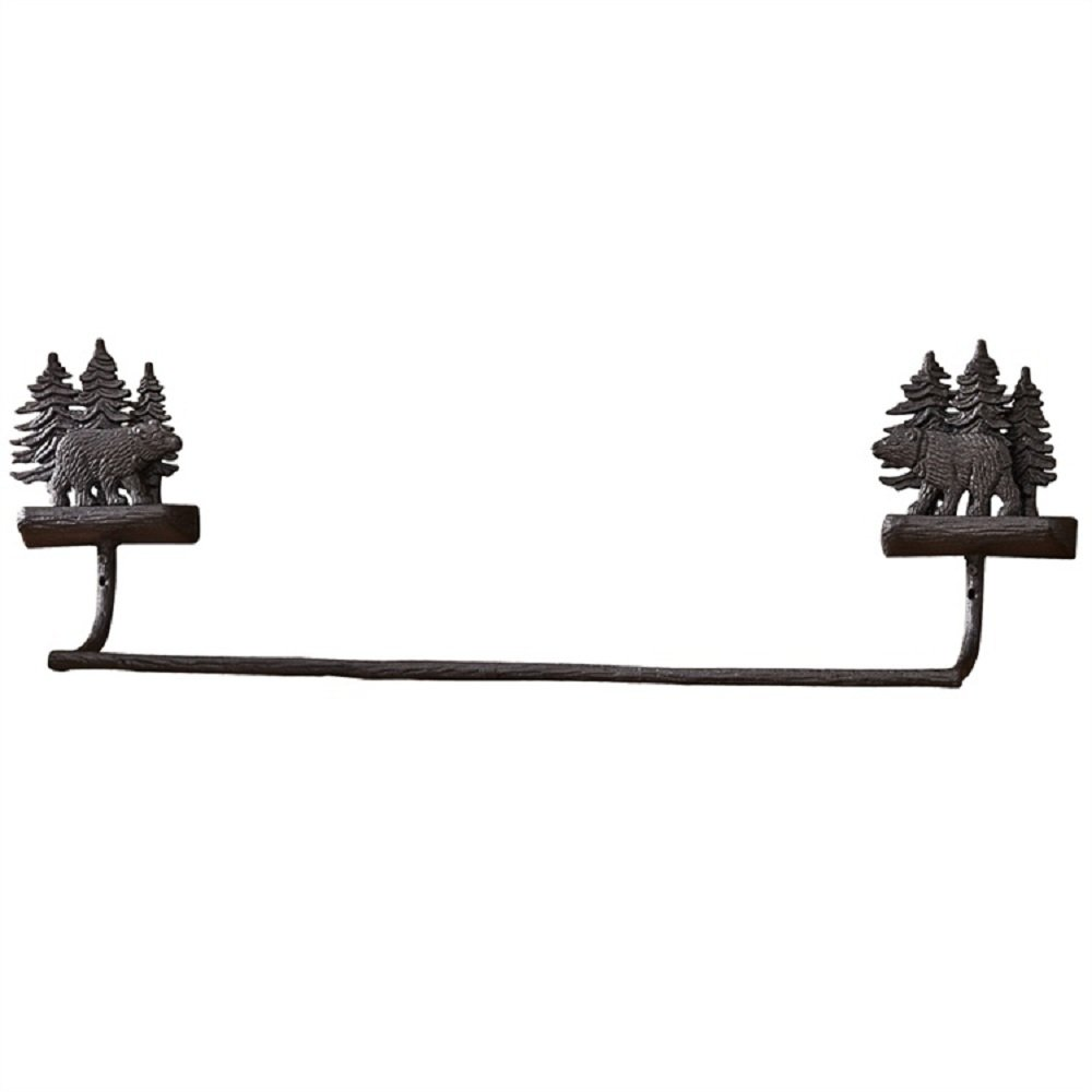 Park Designs Cast Black Bear 8.75 Inches Height x 24 Inches Width x 4.5 Inches Depth Aluminum Towel Bar Home Decor