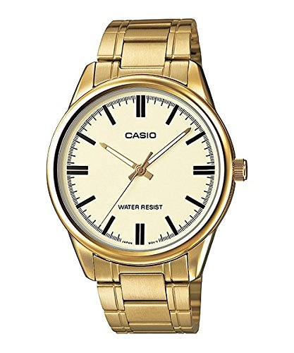 Casio #MTP-V005G-9A Men's Standard Analog Gold Tone Gold Dial 3-Hand Analog Watch