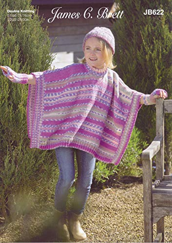 James Brett Girls Double Knit Knitting Pattern Round or Polo Neck Tabard Hat & Wrist Warmers (JB622)