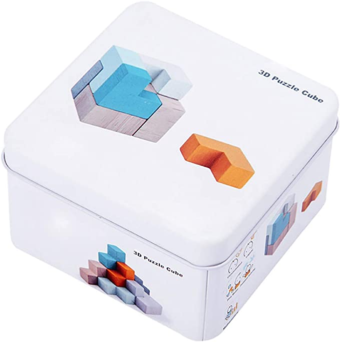 1 juego Rompecabezas de madera del cubo de Domino Spinning Tops ...