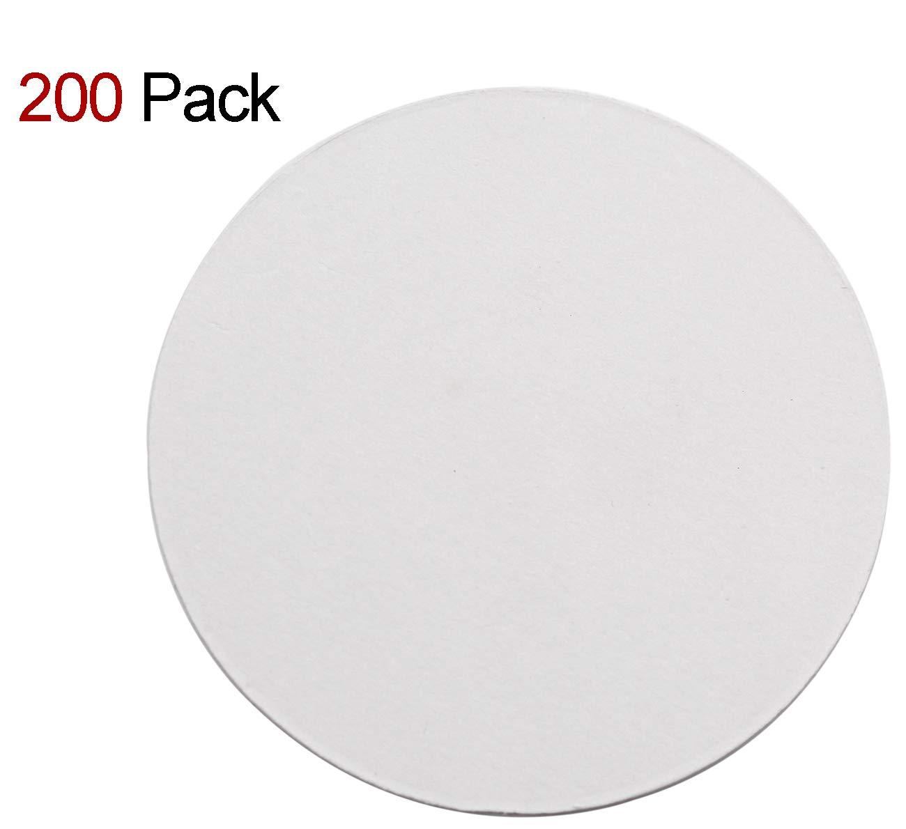 TravelWell Round 3.54 Inch Diameter Thicker (0.8 MM) Non Slip Drink White Paper Coaster Set – Set of 200
